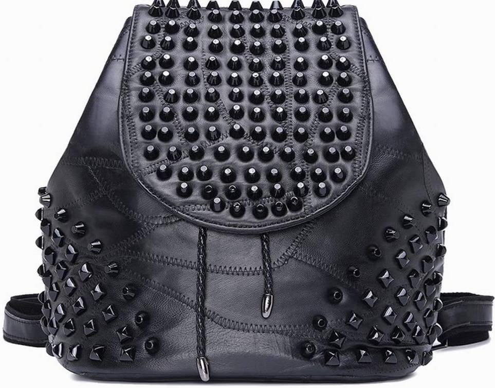 Black CACTUS Creative Fashion Fashion Multi-Student Backpack Studded Back Female Student Bag Large Capacity for Women