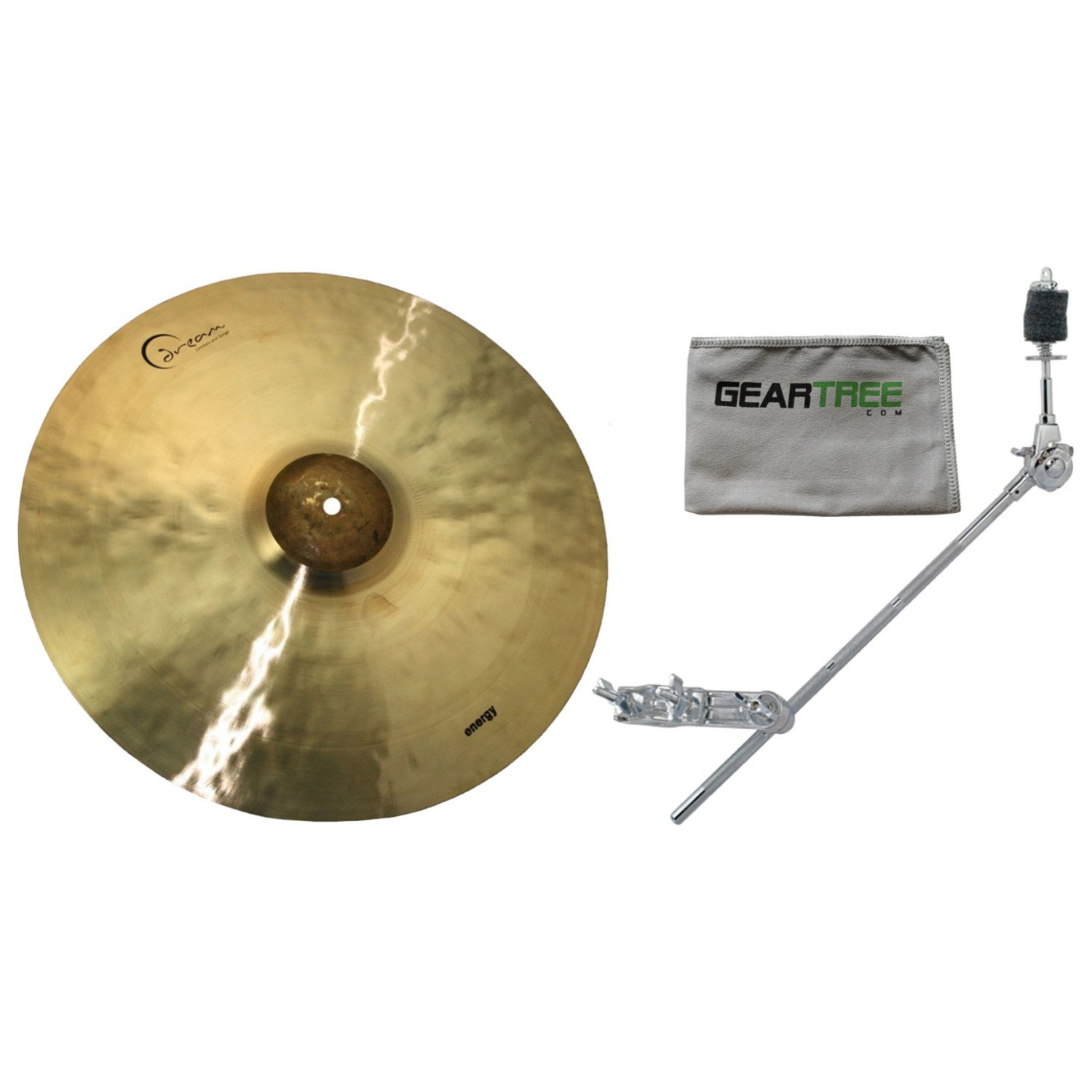 Dream ECRRI21 21 Inch Energy Crash Ride w/Geartree Cloth and Cymbal Arm by Dream Cymbals and Gongs