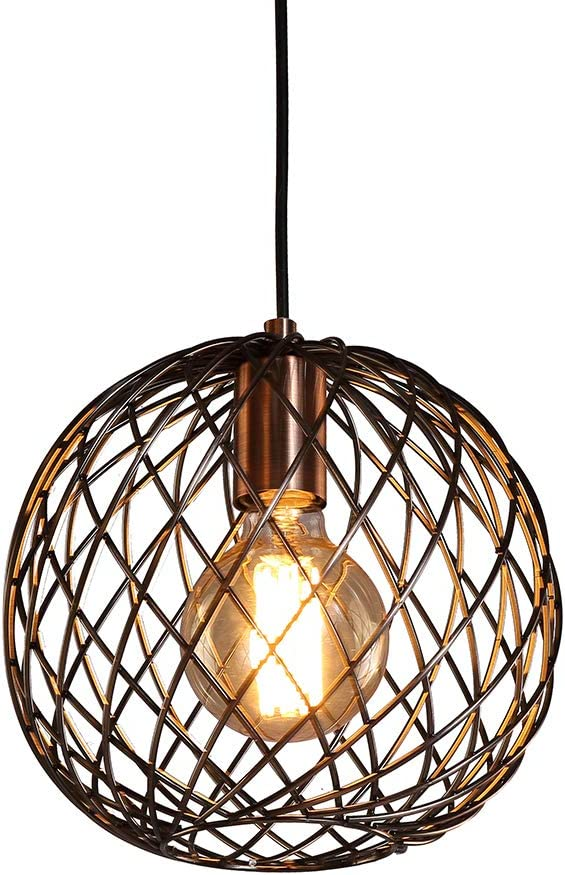 MStar Pendant Light,Retro Style,Vintage Loft Design,Antique Copper Cage Hanging Ceiling Lamp,Industrial Lighting Fixture and Decoration for Living Room Bedroom