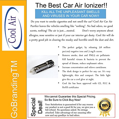 cool air car ionizer air purifier best for remove smoke cigarette smell bad odors pollen. Black Bedroom Furniture Sets. Home Design Ideas