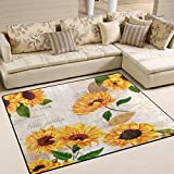 ALAZA Vintage Sunflower Area Rug for Living Room Bedroom 5'3 x 4′ Review