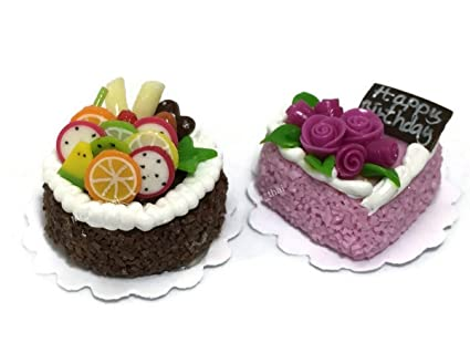 2pc Miniature Wedding Cake Bakery Dollhouse Chocolate Birthday Strawberry Mini Food Fruit MF051