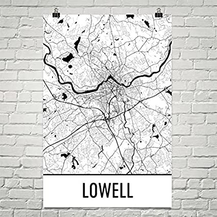 Amazon.com: Lowell Map, Lowell Art, Lowell Print, Lowell MA ... on city street map manhattan ny, city street map jackson tn, city street map lincoln ne, city street map londonderry nh, city street map frankfort ky,