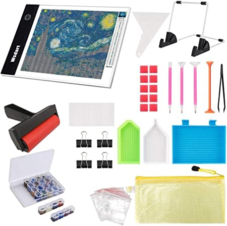 Felt Carrying Bag Diamond Storage Containers SGHUO 157 pcs Diamond Painting Tools and Accessories Kits with A4 LED Light Pad Roller and Stand Holder for Adults or Kids