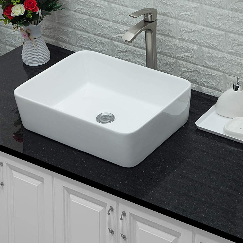 Lordear 19 x15 Modern Bathroom Rectangle Above White Porcelain Ceramic Vessel Vanity Sink Art Basin Brushed Nickel Faucet Combo