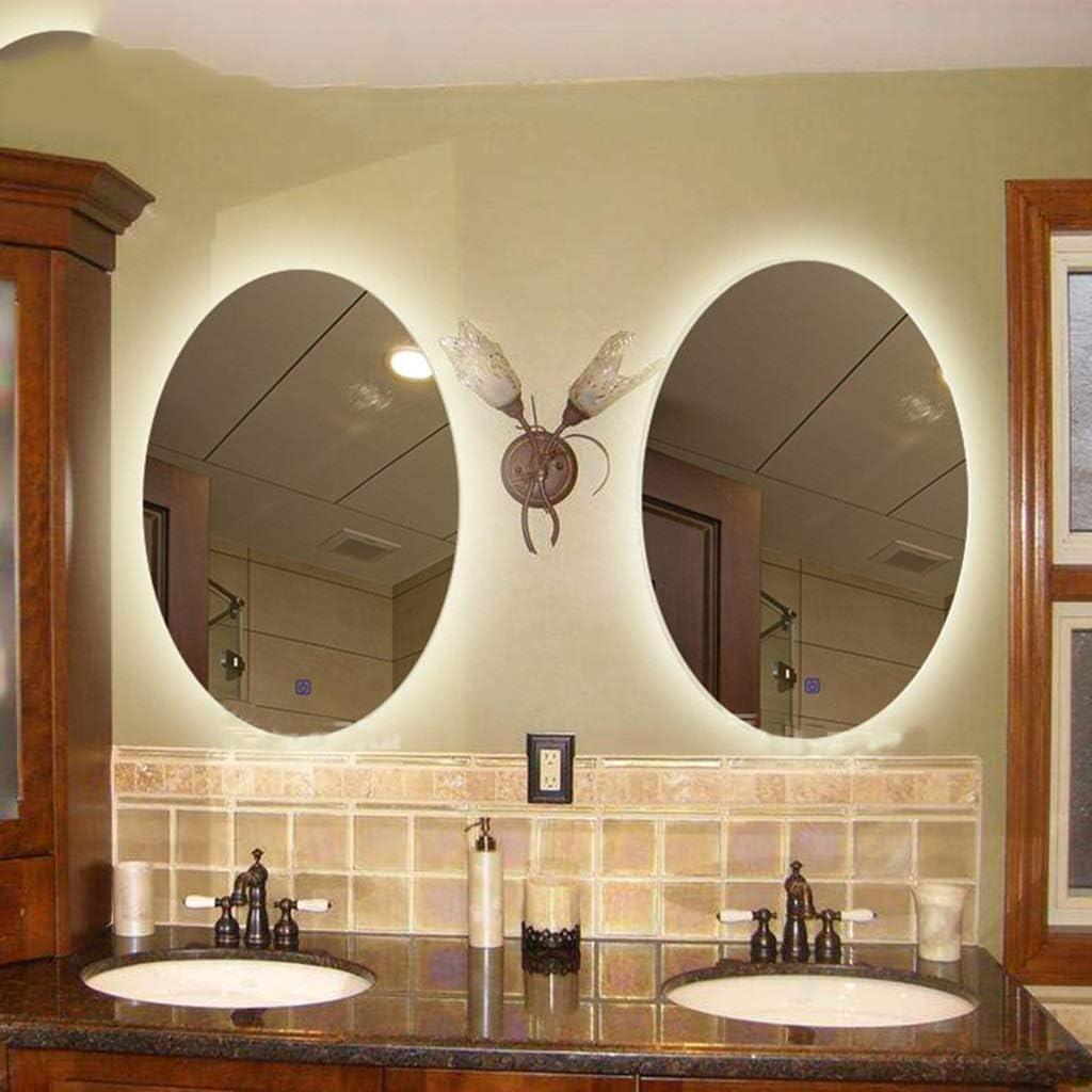 Size : 40x60cm Mit Sensor-Schalter Wandmontage Schminkspiegel Badezimmerspiegel LED Oval Beleuchtung
