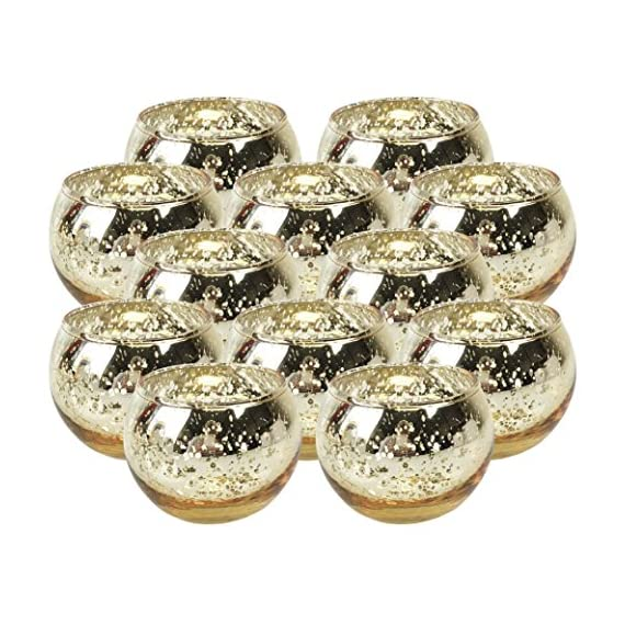 """Just Artifacts Round Mercury Glass Votive Candle Holders 2-Inch Speckled Gold (Set of 12) - Mercury Glass Votive Candle Holders for Weddings and Home Décor - Just Artifacts Round Mercury Glass Votive Candle Holders 2""""H Speckled Gold (Set of 12) - Mercury Glass Votive Candle Holders for Weddings and Home Décor WEDDINGS, PARTIES & HOME DECOR: Mercury glass votive candle holders are the perfect touch to add glow and elegance to your event and/or home. Each votive is embellished with an antique finish. For safety precautions we recommend that you use a LED tealight candle with the votive; however, regular wax tealight candles can be used with the candle holders. DIMENSIONS: Approximately 2.75"""" diameter and 2"""" height - living-room-decor, living-room, home-decor - 61vsEeuvPgL. SS570  -"""