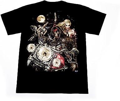 Camisetas Wild luminiscente, Muerte sobre una Chopper, /Alternative / Rock / Metal / moteros / Ethno / Tamaño M: Amazon.es: Ropa y accesorios