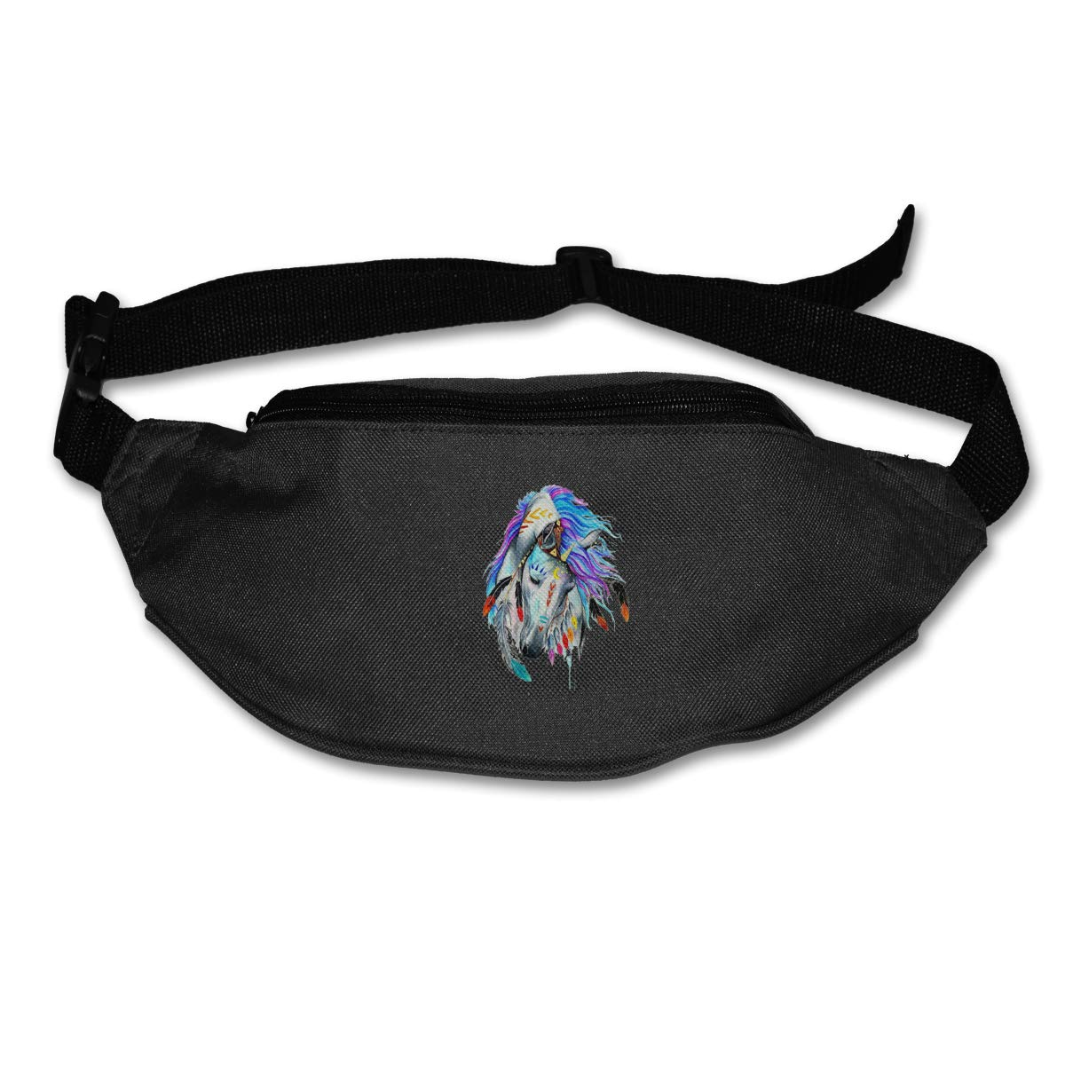 Beautiful Horse And Feather Sport Waist Bag Fanny Pack Adjustable For Hike