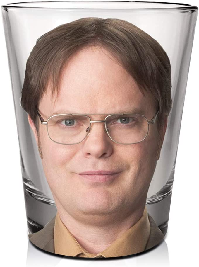The Office Dwight Schrute's Shot Glass [CLEAR 1.5oz] Vodka, Tequila, Whisky and Liqueurs Shot Glass, Heavy Base Shot Glass (OFFICIALLY LICENSED), By Just Funky