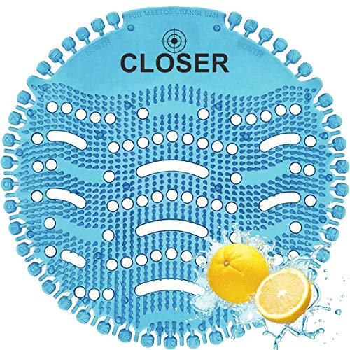 Closer Urinal Screen Deodorizer 10 Pack- Anti-Bacterial & Anti-Splash Urinal Mat - Fresh Lemon Scented Urinal Screen - Urinal Cake Scent Lasts 5,000 Flushes/30 Days - 10 Urinal Deodorizer Pack - Blue