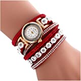Oksale Women Fashion Winding Bracelet Metal Decorative Circle Quartz Watch