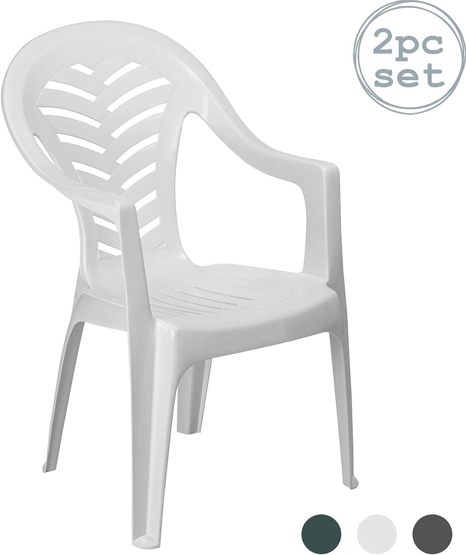 Stackable UV Resistant Outdoor Patio Armchair Resol 2 Piece Cool Plastic Garden Chair Set Green