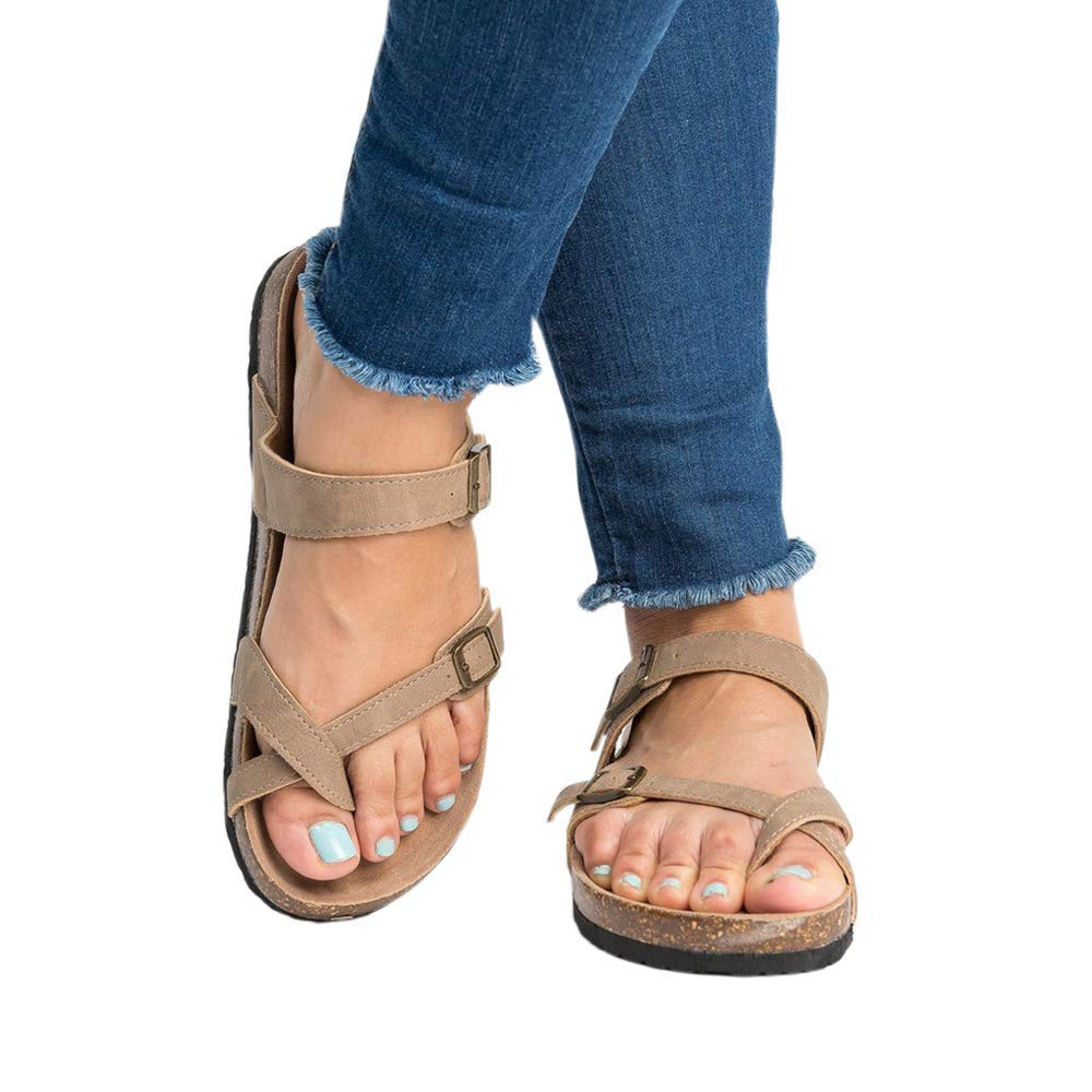 Sara Love Women's Summer Flat Ankle Buckle Sandals Gladiator Thong Flip Flop Mayari Sandals Beige 43