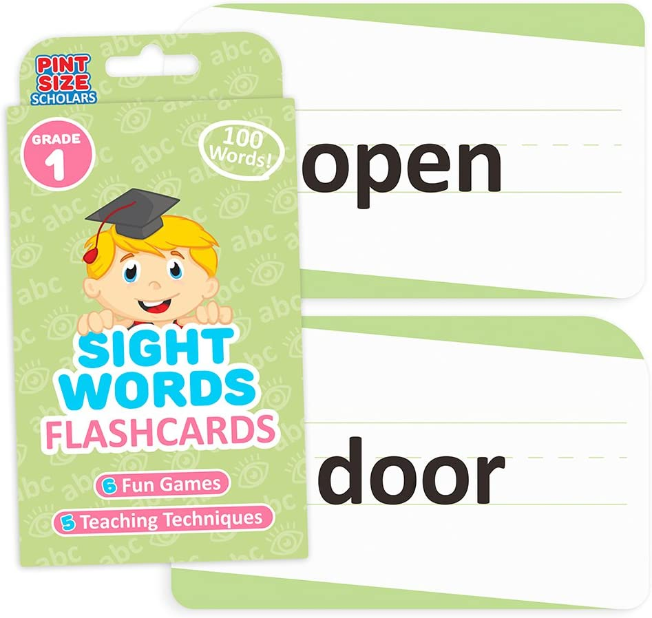 Sight Words Flashcards for Reading Readiness, 100 Pack - Lined & Double-Sided Phonics Word Learning Tools - Prep for Preschool, Kindergarten, Elementary, Home School