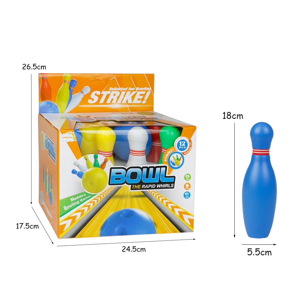 12 Pcs Skittles Bowling Set Toy Outdoor Indoor Bowling Pins Game with 2 Balls for Kids over 3 Years Old (Medium)