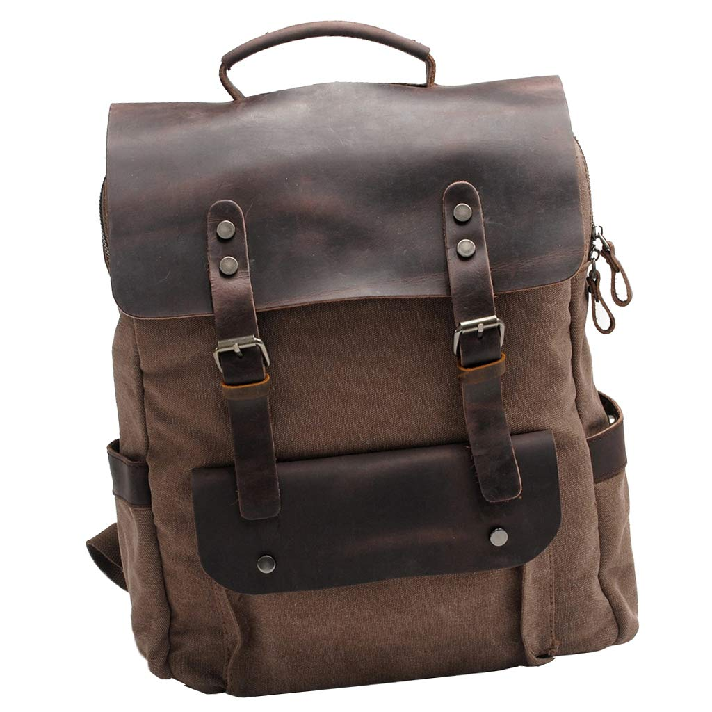 Coffee as described Prettyia Canvas Leather Backpack School Satchel Laptop Travel Sports Hiking Rucksack
