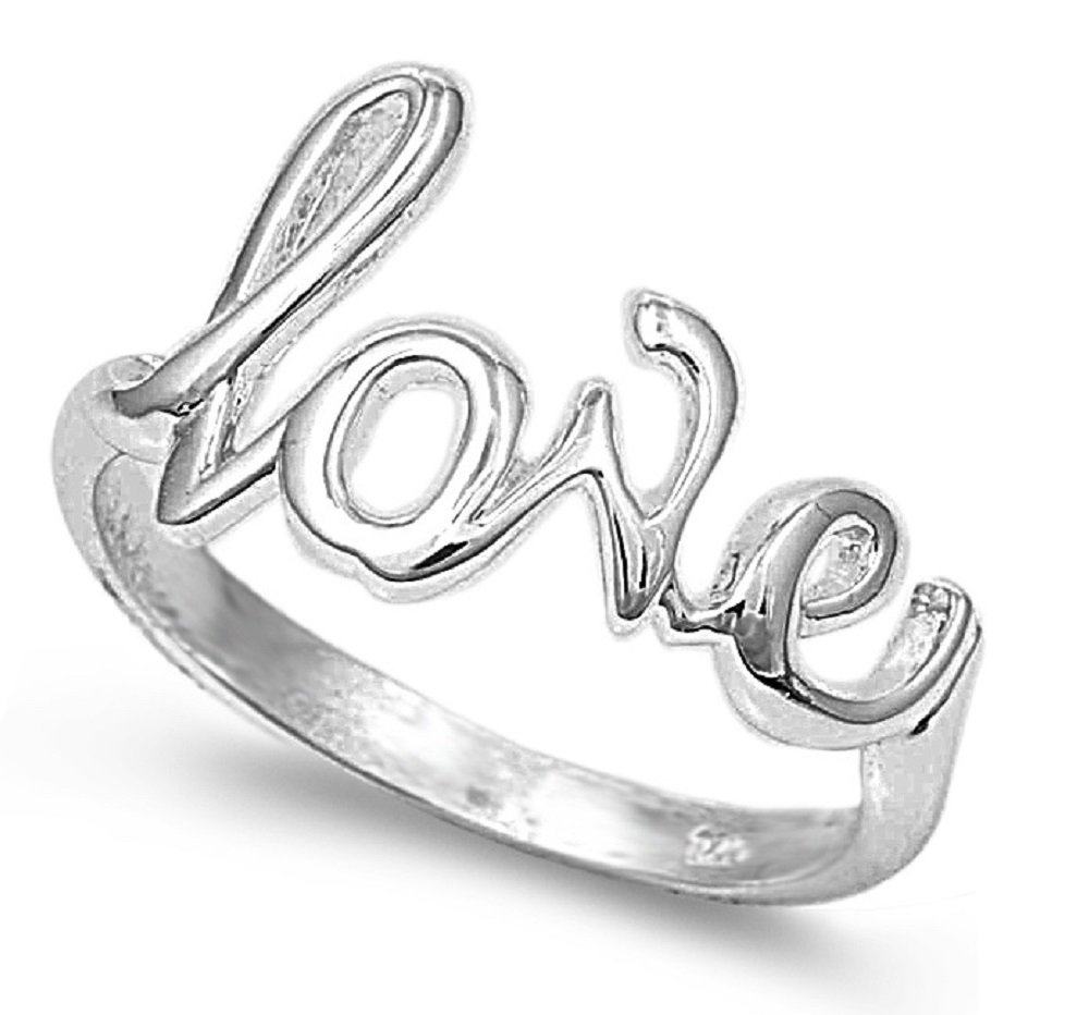CloseoutWarehouse Sterling Silver Love in Script Ring Size 10