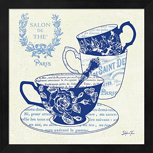 Blue Cups IV by Stefania Ferri Fine Art Print with Wood Box Frame and Glass Cover, 13 x 13 inches