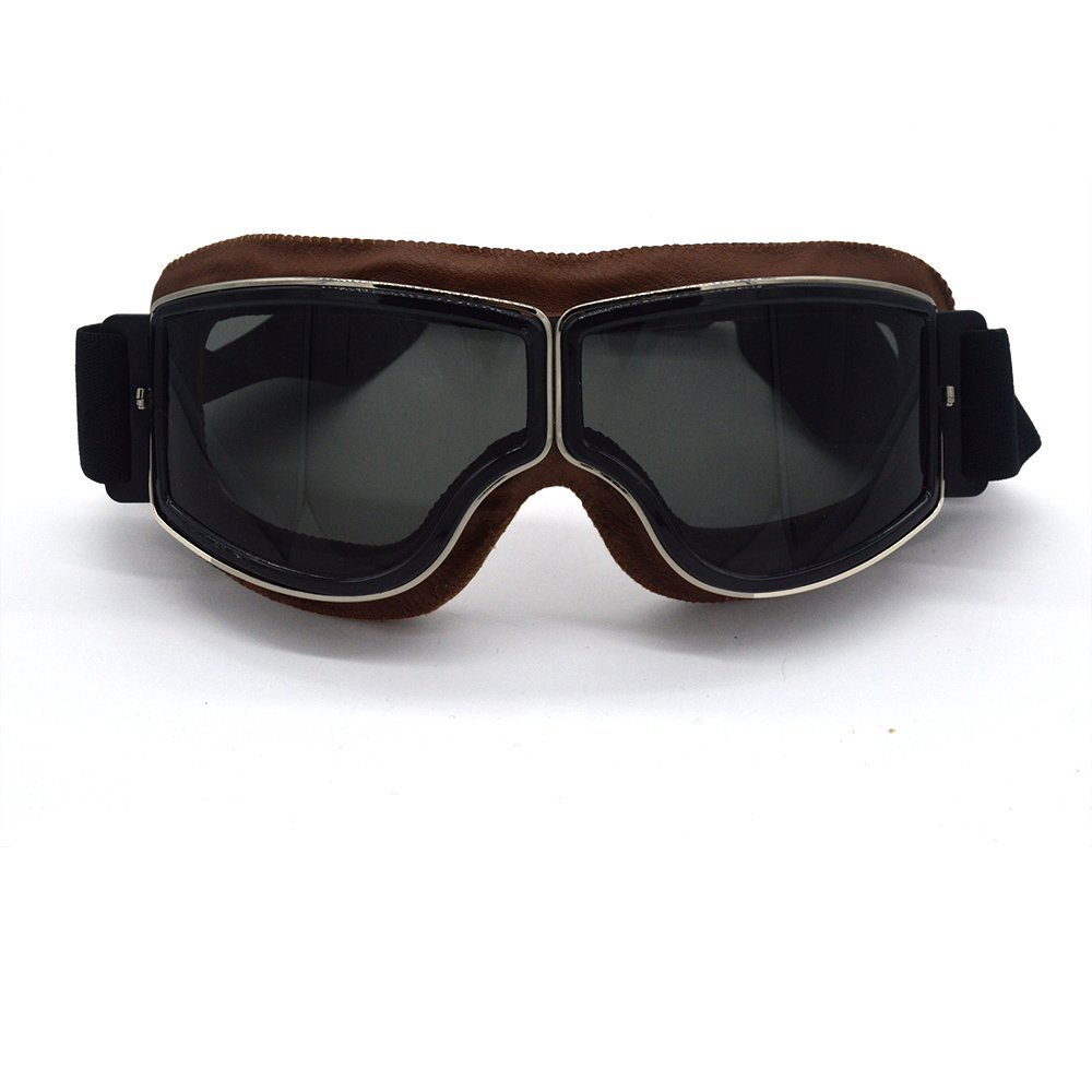 evomosa Motorcycle Goggles Leather Sport Vintage Aviator Pilot Style Helmet Goggles Anti UV Fog Glasses Copper Scooter ATV Dirt Off Road Racing Eyewear Riding Ski Goggles MG81BB