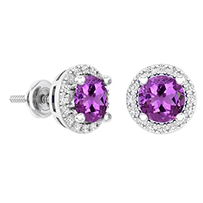 43e418fde Dazzlingrock Collection 14K Round Purple Amethyst & White Diamond Ladies  Halo Stud Earrings 2 CT,