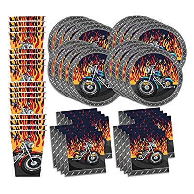 Motorcycle Biker Birthday Party Supplies Set Plates Napkins Cups Tableware Kit for 16 by Birthday Galore