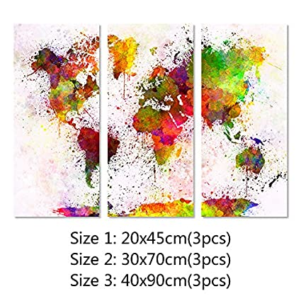Amazon 3 pcs classical europe type watercolor world map canvas 3 pcs classical europe type watercolor world map canvas painting wall modular picture for living room gumiabroncs Choice Image