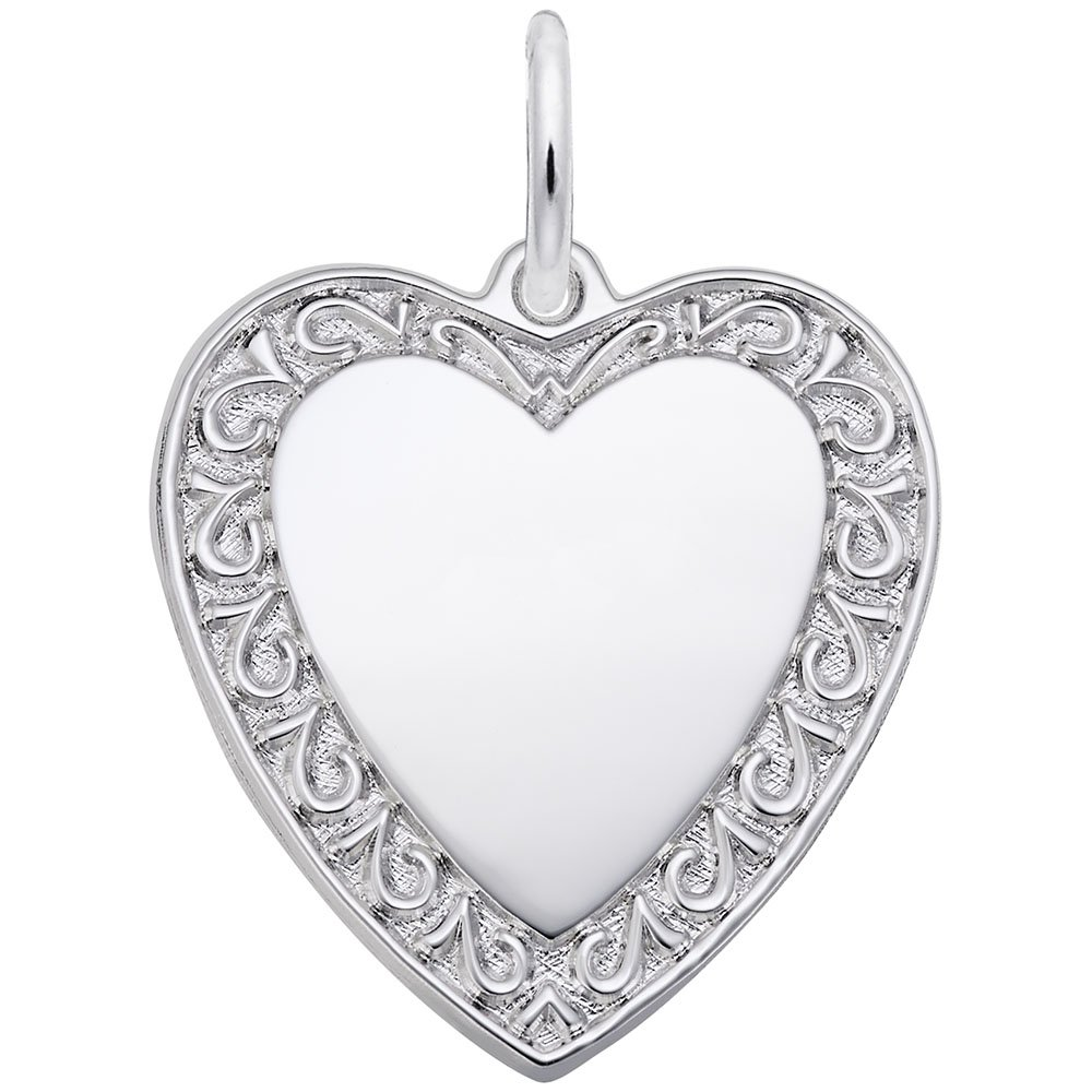 Rembrandt Charms, Bordered Heart.925 Sterling Silver, Engravable