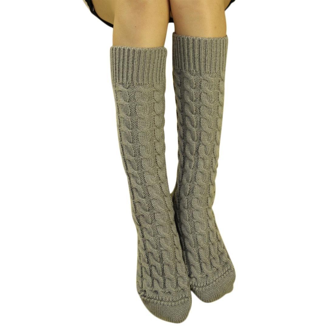 ホットセールレディースKnee Boot Socks、jushyeレディースニットロングブーツソックス膝上ストッキングニットHangingボールソックス B077Z7RPMKC