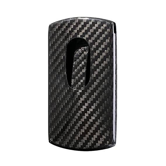 caso de verdadera fibra de carbono nombre de la empresa de tarjetas para los hombres, minimalista delgado de la tarjeta ligera titular de brillo negro: ...