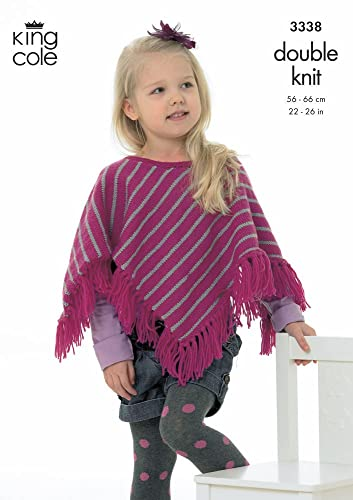 King Cole 3338 Knitting Pattern Childrens Ponchos Knitted In King