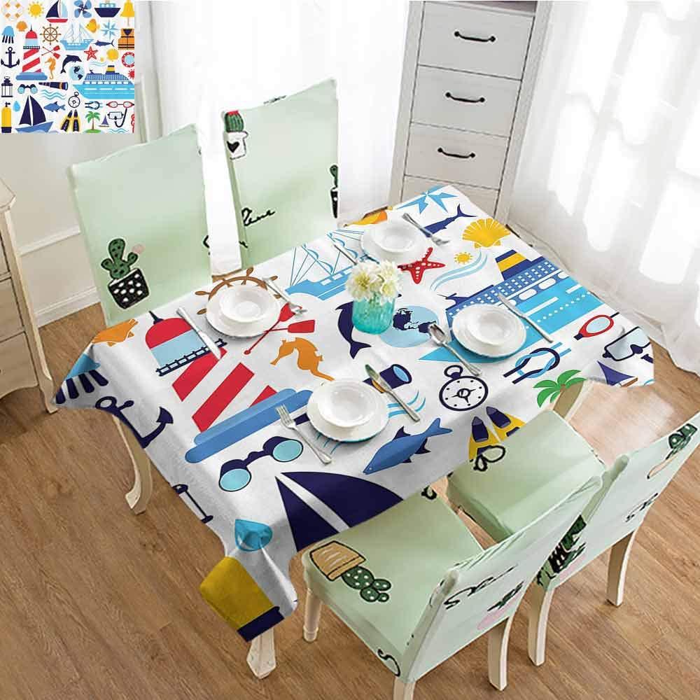 EDZEL Rectangular Table Cover, Great for Buffet Table, Diving Equipment Scuba Life Jacket Sunshine Tropical Tourist Enjoyment Image, 54''x84'', Mustard Navy Blue Red by EDZEL