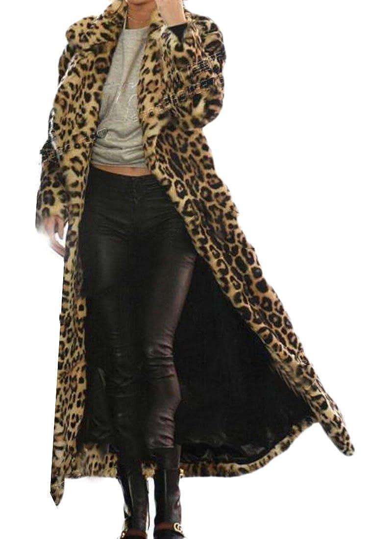 Domple Women's Lapel Open Front Outdoor Faux Fur Leopard Print Long Jacket Coat