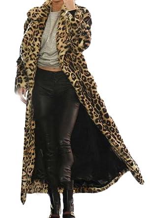 b9551b070d59 Domple Women's Lapel Open Front Outdoor Faux Fur Leopard Print Long Jacket  Coat at Amazon Women's Coats Shop