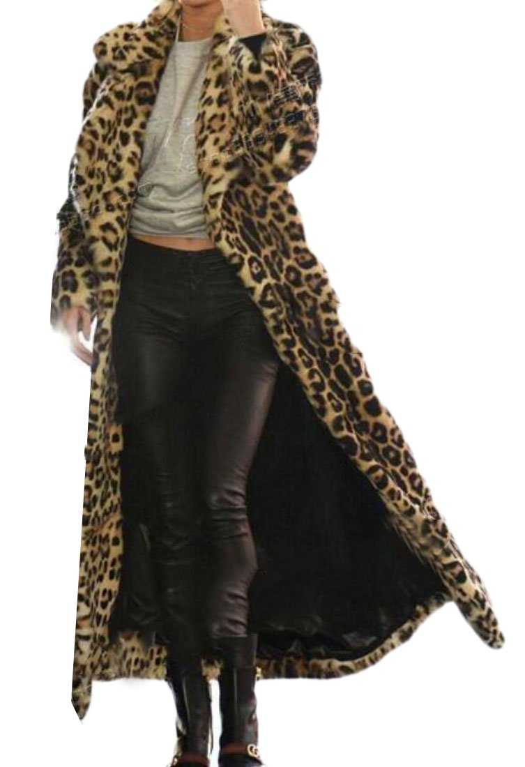 Domple Women's Lapel Open Front Outdoor Faux Fur Leopard Print Long Jacket Coat 1 2XL