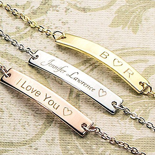 SAME DAY SHIPPING GIFT TIL 2PM CDT A Absolute rate your name bar Bracelet - Dainty Hand stamped Engraving Personalized Plate Bracelet bridesmaid Wedding Graduation Birthday Christmas - Canada Shipping Rates