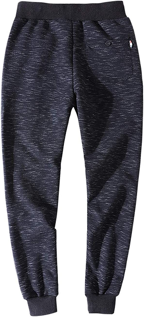 MAZORT Mens Cotton Blend Marled Knit Casual Sport Style Jogger Pants with Velvet Lining