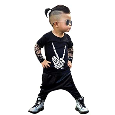 b35878f5b4e Clode® for 0-2 Years Old Baby Boys Cute Toddler Kids Tattoo Letter Print Vest  Tshirt Tops and Long Pants 2pcs Outfit Summer Clothes  Amazon.co.uk   Clothing