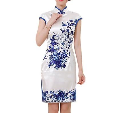 YueLian Damen Sommer Elegant Retro China Cheongsam Blau Blumen Kurz ...