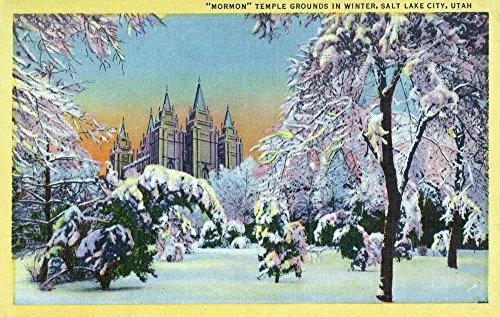 Salt Lake City, Utah - View of the Mormon Temple Grounds in the Winter (24x36 SIGNED Print Master Giclee Print w/Certificate of Authenticity - Wall Decor Travel Poster)
