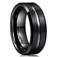 Classic Men Black Tungsten Carbide 8mm Polished Matte Brushed Finish Center Wedding Band Ring