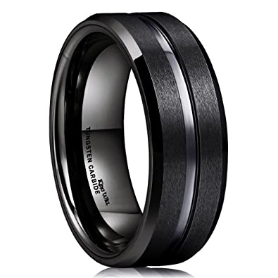 cab20d475e1f King Will Classic 8mm Black Tungsten Carbide Wedding Band Ring Polished  Finish Grooved Center Comfort Fit