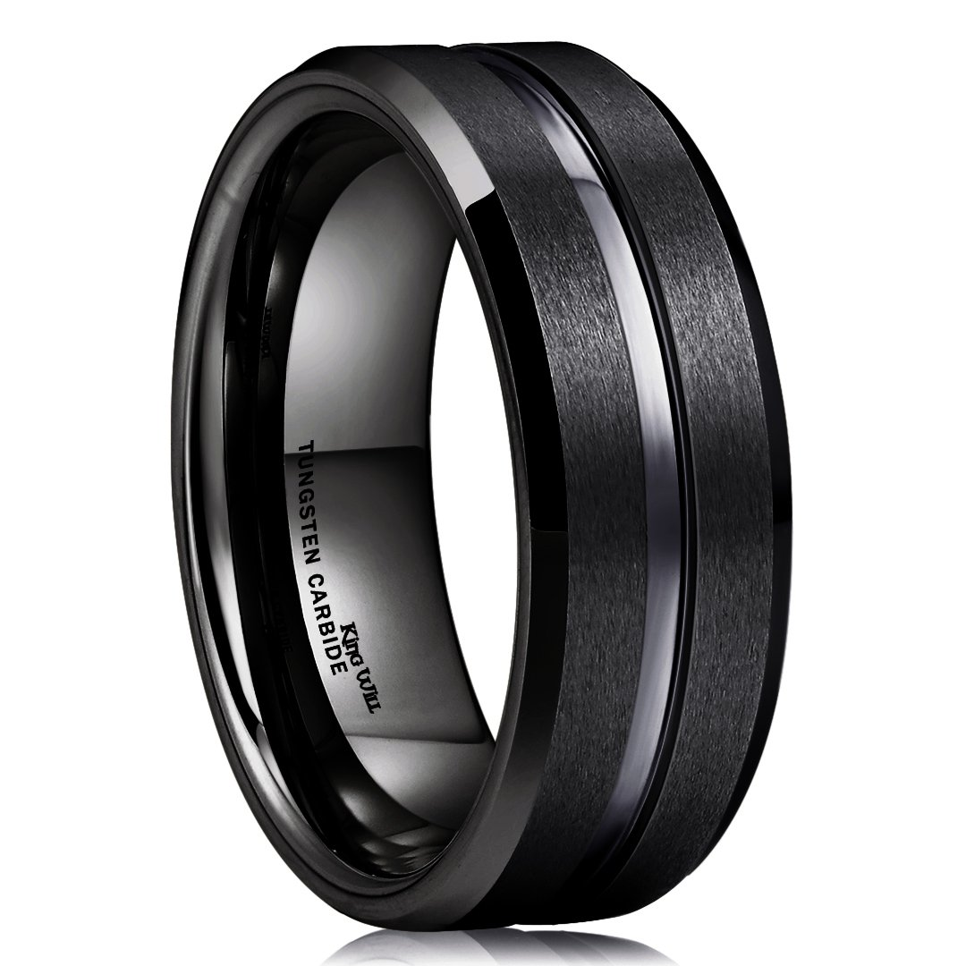 King Will Classic Men Black Tungsten Carbide 8mm Polished Matte Brushed Finish Center Wedding Band Ring 11