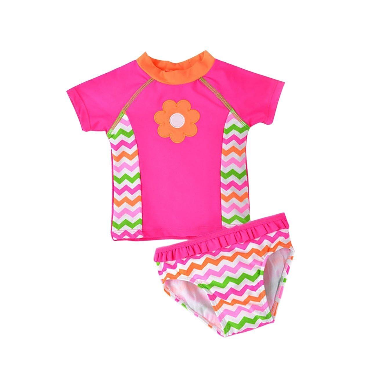 wildwalk Summer Baby Girl Short Sleeves Swimsuits Rash Guard Sets ChildBikini_022-1