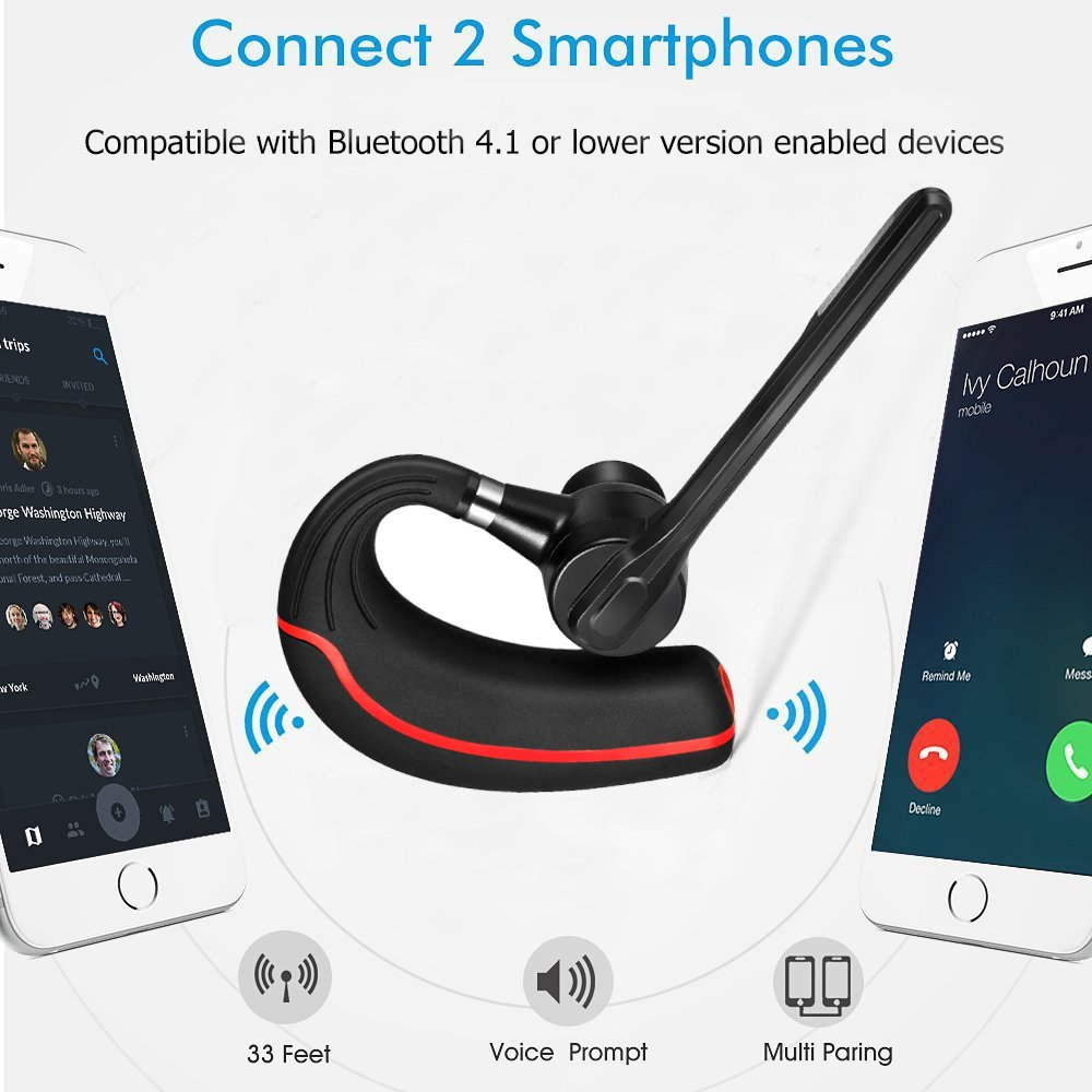 Headset Bluetooth, Wireless Bluetooth Earpiece with Mic Mute Switch Headset for Trucker Handsfree Bluetooth Headphones, V4.1 Bluetooth Headsets Earphone Compatible for iPhone Android Cellphone