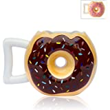 """Ceramic Donut Mug - Delicious Chocolate Glaze Doughnut Mug with Sprinkles - Funny """"MMM... Donuts!"""" Quote - Best Cup For Coffee, Tea, and More - Large 14 oz Size - Funny Coffee Mug Gift"""