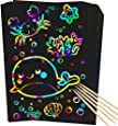 RMJOY Scratch Rainbow Art Paper Set - 50Pcs Magic Scratch off Art Craft Supplies Kits for Kids Girls Boys Black Scratch Notes Sheet Doodle Pad for Fun DIY Toy Party Favors Game Christmas Birthday Gift