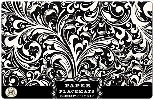 Michel Design Works 25 Count Florentine Paper Placemats, Black/White