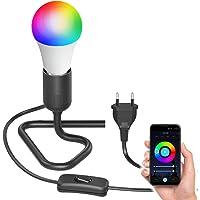 ledscom.de Tafellamp TRIN met E27 lampcontactdoos Driehoekssokkel zwart met stekker en schakelaar incl. Smart Home RGBW…