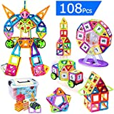 Flycreat Educational Magnetic Building Blocks Set, 108 Pcs Magnetic Building Construction Stacking Toys Intelligence Magnet Bricks Tiles For Children Kids with Carry Box Letters and Numbers Toys
